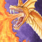 Golden dragon breathing fire by Artistic-Dribbles