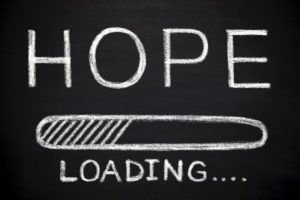 Chalkboard style progress bar that says HOPE LOADING.