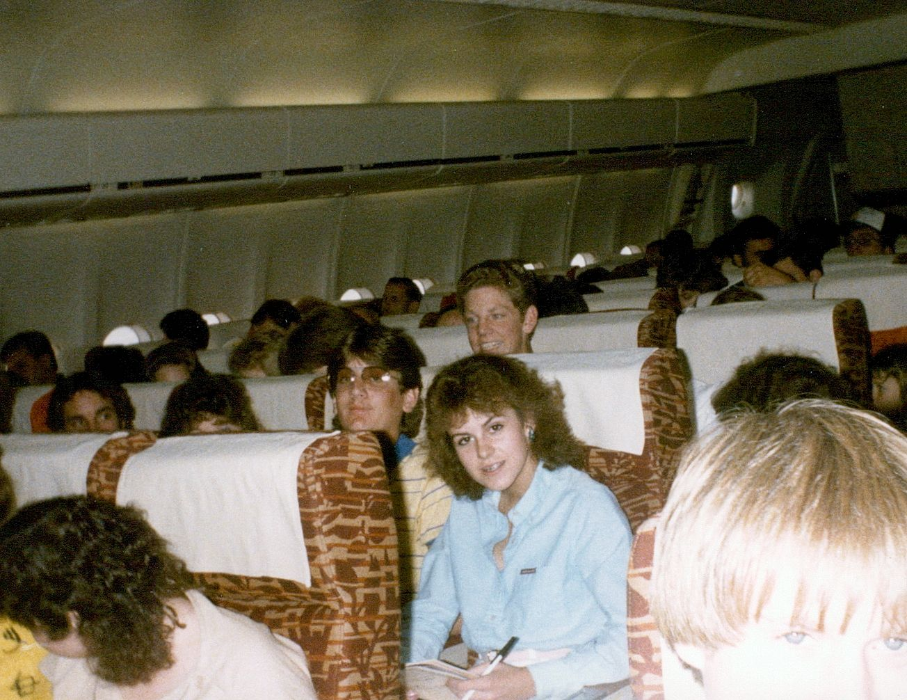 Picture of people on a plane