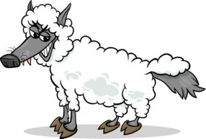 Illustration of a smiling wolf wearing a sheep costume.