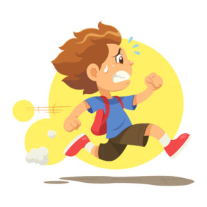 Illustration of a boy wearing a backpack and running, sweat dripping from his face.