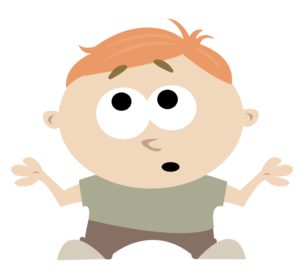 Illustration of a boy shrugging his shoulders.