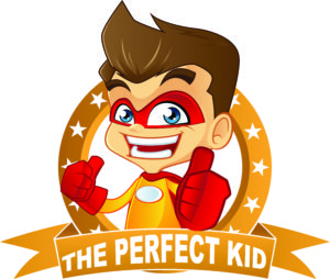 "Illustration of a boy dressed as a superhero posing with thumbs up behind a sign that says, ""The Perfect Kid."""